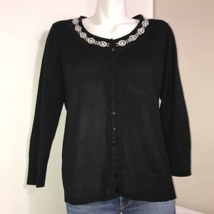 Cleo Black Vintage Beaded Buttoned CardiganSweater